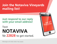 Text NOTAVIVA to 22828 to join our mailing list